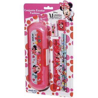 Conjunto Escolar Fashion Minnie Disney 6 itens