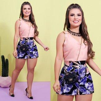 Conjunto Feminino Blusa e Short Cintura alta Roupas Femininas