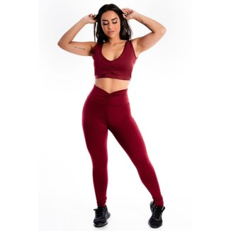 Conjunto Feminino Cropped e Calça Legging Lisa Detalhe Busto e Cós
