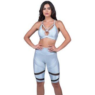 Conjunto Feminino Fitness Bermuda Tela Cós Alto E Top Bojo Cirre 3D Orbis - COBRE, G