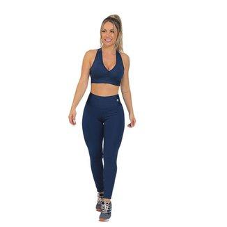 Conjunto Feminino Fitness Confort Azul Escuro