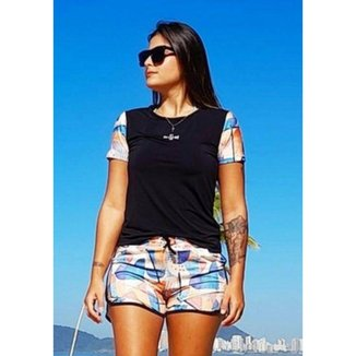 Conjunto Feminino Shorts e Camiseta Manga Curta Aquarela