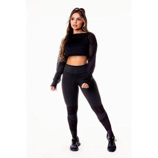 Conjunto Fitness Feminino Calça Legging Preta com Detalhe em Tela Dry Fit Cintura Alta e Cropped Man