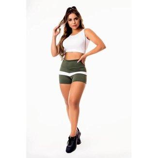 Conjunto Fitness Feminino Short Verde Militar com Branco Cintura Alta e Cropped Regata Branco com De