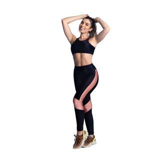 Conjunto Fitness Poliamida Calça Legging e Top com Bojo