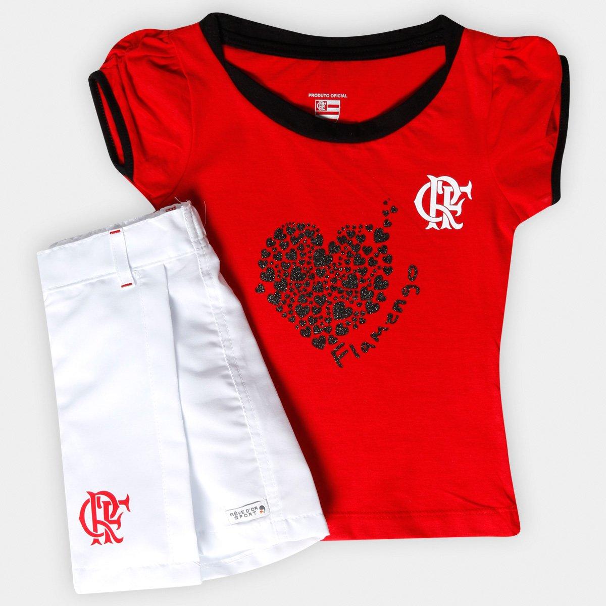 Conjunto Flamengo Juvenil Short Saia - Vermelho e Branco - Compre ... f6d742b01dcb7