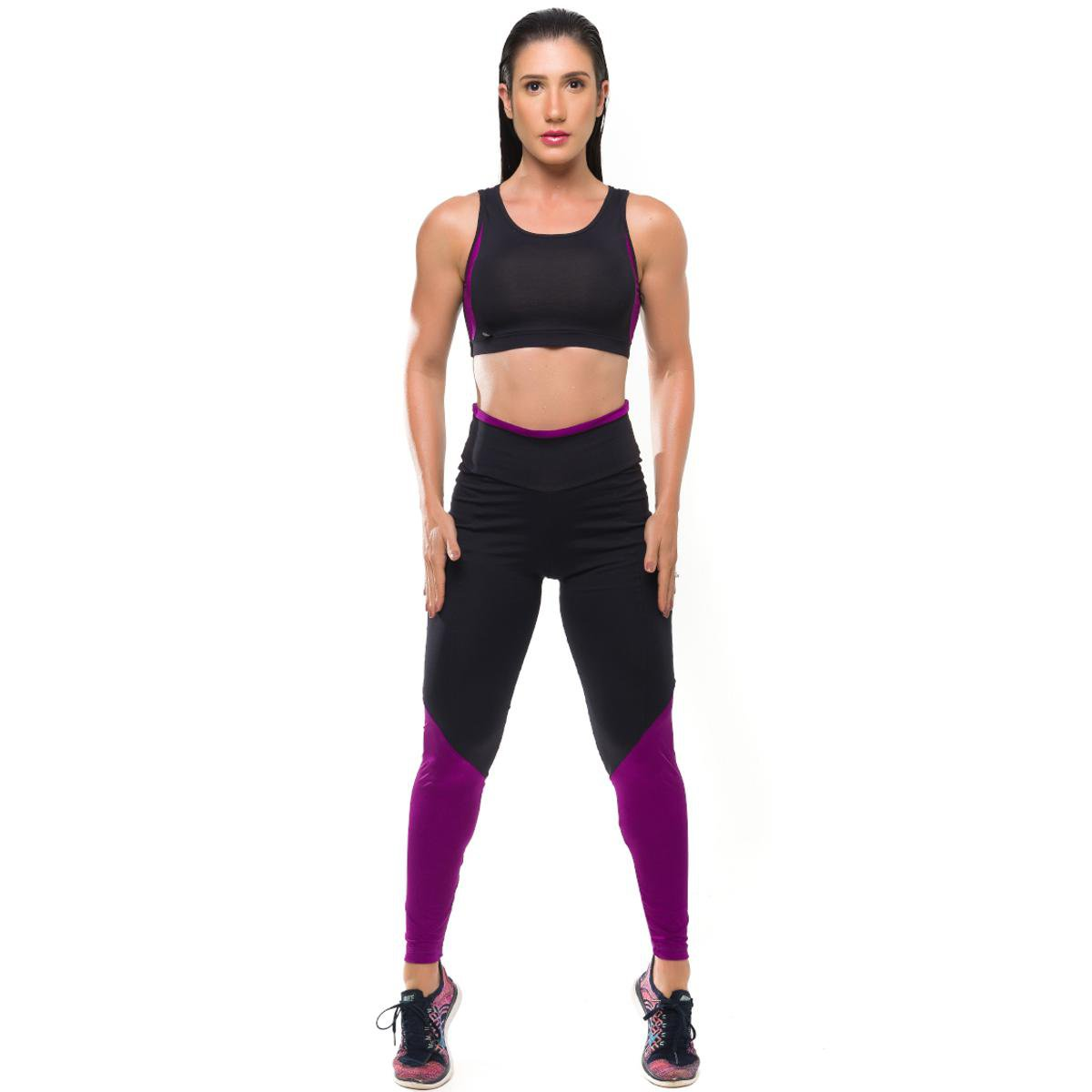Proteção Legging e Top Fitness Roxo Solar Conjunto Sandy Glam Preto Com Feminino qIwnEOO5v