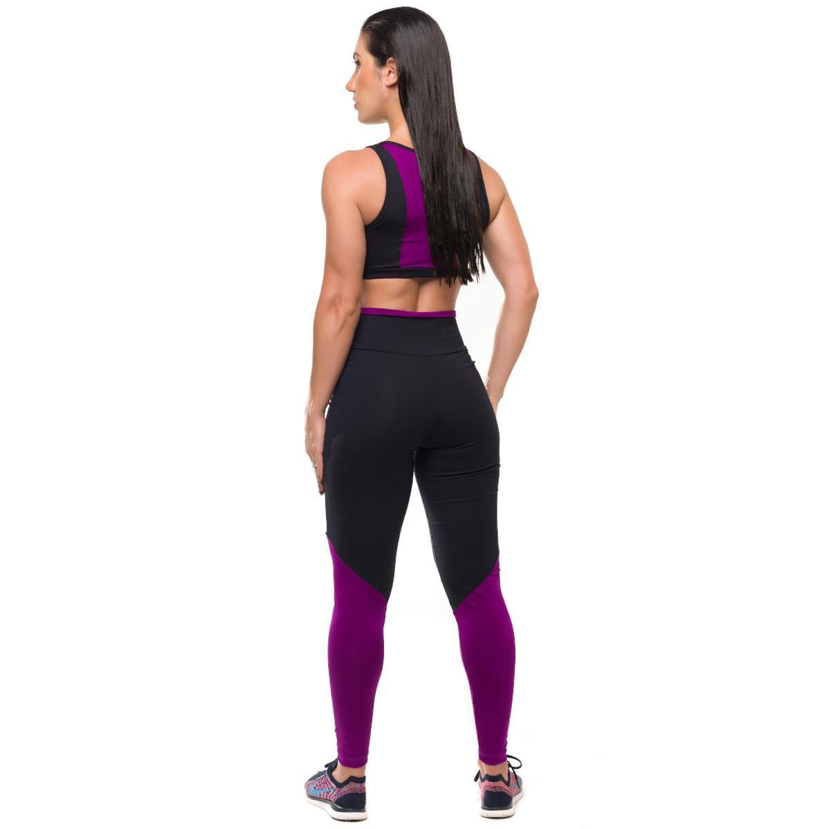 Feminino Legging Conjunto e Sandy Glam Solar Preto Proteção Com Roxo Fitness Top 5Z87Zgq