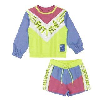 Conjunto Infantil Animê Blusa Rosa E Neon E Shorts