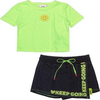 Conjunto Infantil Animê N1607 Blusa Neon E Shorts Saia Preto