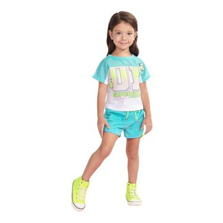 Conjunto Infantil Animê Super Girl Malha Brilho