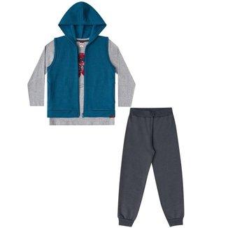 Conjunto Infantil Boca Grande Camiseta, Colete e Calça de Moletom Masculino