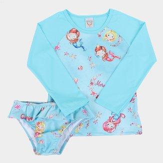 Conjunto Infantil Boca Grande Estampado Proteção UV50+ Feminino