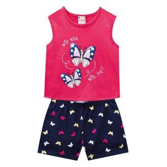 Conjunto Infantil Brandili Blusa+Shorts Borboletas Feminino