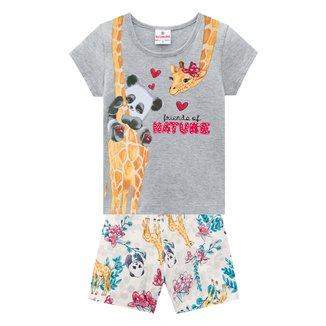 Conjunto Infantil Brandili Camiseta+Shorts Bichinhos Feminino