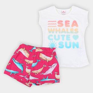 Conjunto Infantil Brandili Fundo do Mar Blusa + Short Feminino