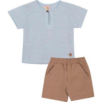 Conjunto Infantil Camisa em Tecido Plano e Bermuda em Bengaline Nini&Bambini Azul e Caqui