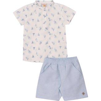 Conjunto Infantil Camisa em tricoline e Bermuda  em tecido Linen Nini&Bambini Barquinhos Branco e Az