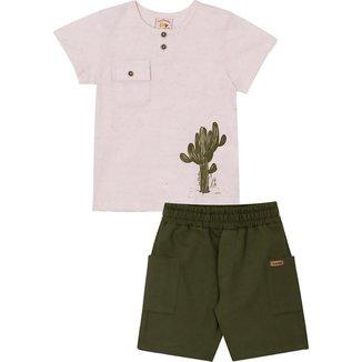 Conjunto Infantil Camiseta e Bermuda Nini&Bambini Cactos offwhite e verde