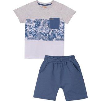 Conjunto Infantil Camiseta e Bermuda Nini&Bambini Folhagem Azul e Cinza