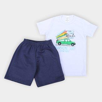 Conjunto Infantil Candy Kids Camiseta E Bermuda Sunshine Surf Masculino