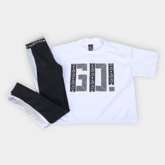 Conjunto Infantil Costão Blusa Go + Legging C/Recorte Feminina