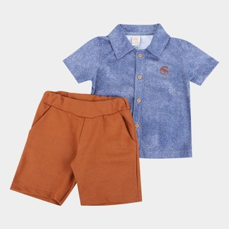 Conjunto Infantil Costão Camisa+Bermuda Moletinho Masculino