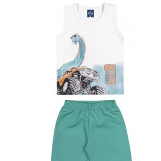 Conjunto Infantil Dinossauro Meia Malha e Bermuda de Tactel Romitex