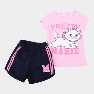 Conjunto Infantil Disney Camiseta E Shorts Moletinho Marie Feminino