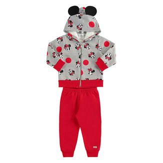 Conjunto Infantil Disney Moletom Minnie Capuz Feminino