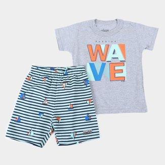 Conjunto Infantil Elian Bermuda Moletinho Wave Masculino