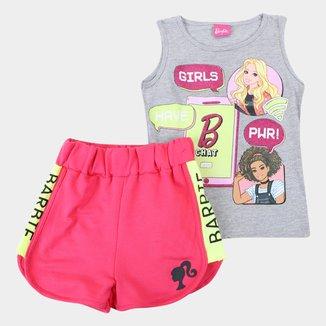 Conjunto Infantil Fakini Barbie Regata + Short Feminino