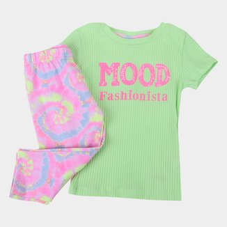 Conjunto Infantil Fakini Tie Dye Neon Feminino