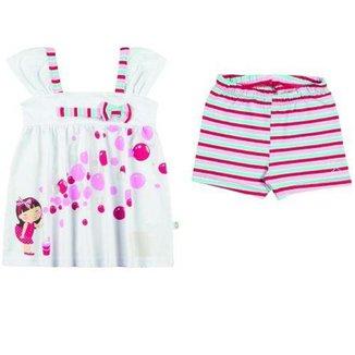 Conjunto Infantil Feminino Bata e Shorts Boca Grande BG17248