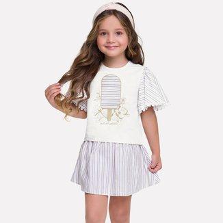 Conjunto Infantil Feminino Blusa + Saia Milon M7746.0452.6 Milon