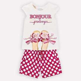 Conjunto Infantil Feminino Blusa + Short Milon 13189.0460.1 Milon
