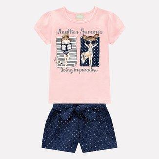 Conjunto Infantil Feminino Blusa + Short Milon 13192.40071.2 Milon