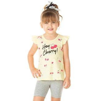 Conjunto Infantil Feminino Hey Cherry Rala Kids Amarelo 1