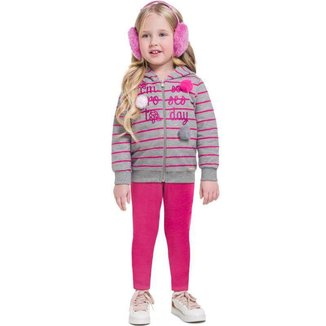Conjunto Infantil Feminino Jaqueta e Legging Moletom BG13743