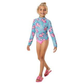 Conjunto Infantil Feminino Marlan Camiseta e Calcinha Com Fator de Proteção