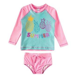 Conjunto Infantil Feminino Tip Top Camiseta e Calcinha Com Fator de Proteção