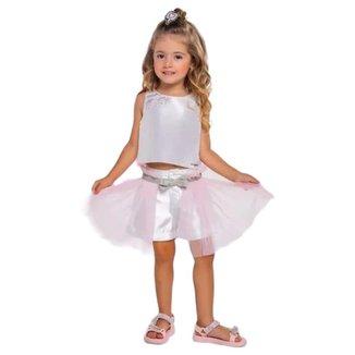 Conjunto Infantil Gabriela Aquarela Regata E Shorts Com Aplicação De Tule 212078