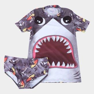Conjunto Infantil Kamylus Shark Proteção UV 50+ Masculino