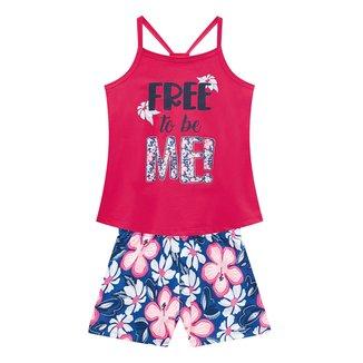 Conjunto Infantil Kyly Regata Floral Free + Shorts Feminino