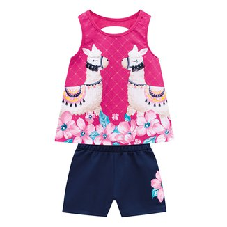 Conjunto Infantil Kyly Regata Little Lhama + Shorts Feminino