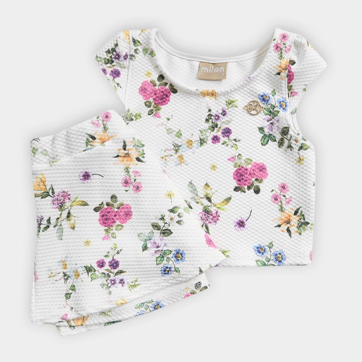 com Conjunto Feminino Off Forro Jacquard Infantil Floral Malha White 16wqtwxAP