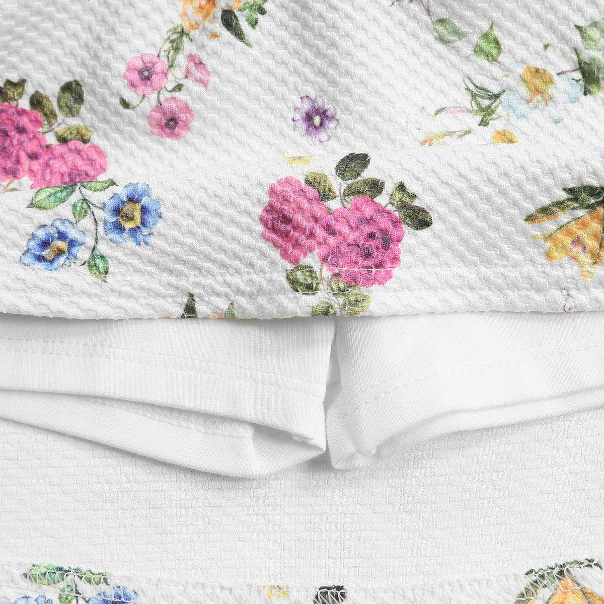 White Conjunto Malha Jacquard Infantil Floral Forro Off Feminino com qq8zxwUC