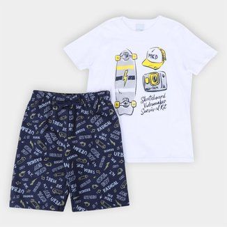 Conjunto Infantil Malwee Camiseta+Bermuda Moletom Botonê Maasculino