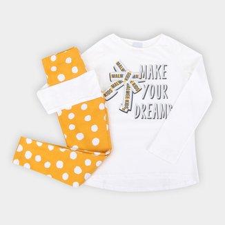 Conjunto Infantil Malwee Estampado Camiseta + Legging Feminino