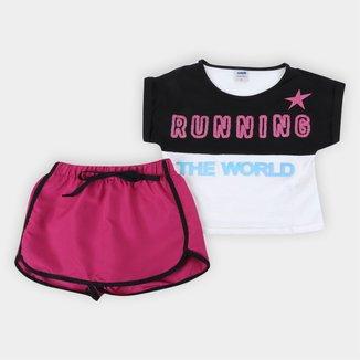 Conjunto Infantil Marlan Running C/ Shorts Saia Feminino
